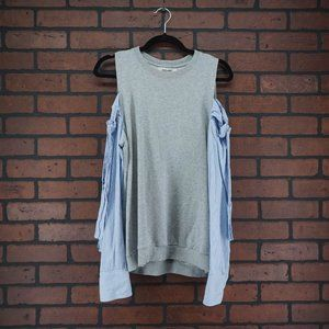 DO + BE Mix Media Sweater Blouse Cold Shoulder M